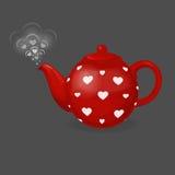 Röd tekokkärl i vit hjärta Från tekannan är utloppsröret i form av par av hjärtor Illustration för dag för valentin` s Arkivfoto