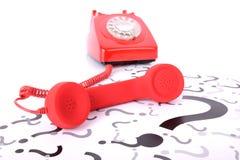 Röd telefonfråga Fotografering för Bildbyråer