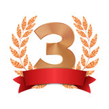 3rd Trophy Award Vector. Third Bronze Placement Achievement. Figure 3 Three In A Realistic Bronze Laurel Wreath. Red. Ribbon. Isolated Stock Photo