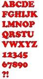 Röd uppercase alfabetuppsättning för Grunge Arkivbilder