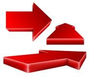 röd uppsättning för pil 3d Arkivbild