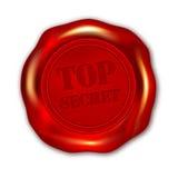 Röd ÖVERKANT - hemlig vaxskyddsremsa på vit bakgrund Arkivfoton