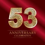 53rd years anniversary logotype disco style. 53 years anniversary celebration logotype red background. Anniversary disco style royalty free illustration
