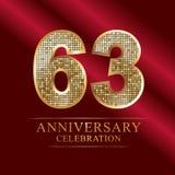 63rd years anniversary logotype disco style. 63 years anniversary celebration logotype red background. Anniversary disco style royalty free illustration
