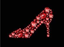 Röda Gem Shoe Arkivbild