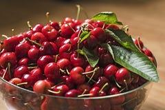 Röda körsbär i bunke Fotografering för Bildbyråer