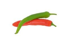 Röda och gröna chilir Royaltyfria Bilder