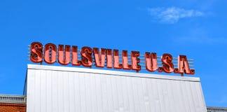 Röda och vita Soulsville U S A Tecknet på Stax antecknar museet Royaltyfri Fotografi