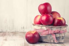 Röda äpplen i korg Royaltyfri Fotografi