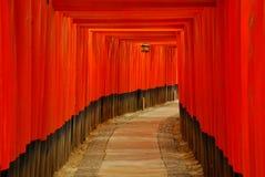 Röda toriiportar och lykta Arkivfoton
