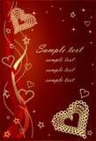 Röda Valentine Background With Bows och hjärtor. Royaltyfri Bild