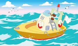 Räddningsaktionfartyg i havet Arkivbilder