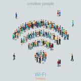 Rádio público livre do sinal de WiFi dos povos da multidão do vetor do ponto quente de Wi-Fi Imagens de Stock Royalty Free