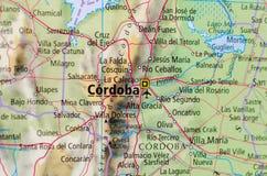 Rdoba ³ CÃ на карте Стоковое Изображение