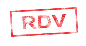 RDV in red rectangular stamp Royalty Free Stock Photography