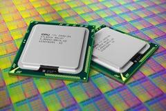 rdzeniuje cpus nowożytnego procesoru silikonowego opłatek Zdjęcia Stock