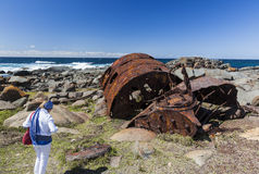 Rdzewieć bojler od shipwreck SS Monaro Eurobodalla Fotografia Royalty Free
