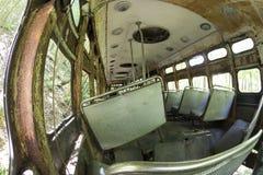 Rdzewieć wnętrze zaniechany tramwaju samochód Zdjęcia Royalty Free