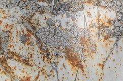 Rdzewiejąca błękit malująca metal ściana Szczegółowa fotografii tekstura Obraz Royalty Free