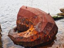 Rdzewiejąca Nowożytna Stalowa rzeźba, Sydney schronienie, Australia zdjęcie stock