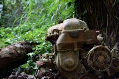Rdzewiejący Samochodowy silnik zakłada w lesie w Kauai Hawaje Obraz Stock
