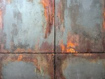 Rdzewiejący Stalowi Ścienni panel obraz stock