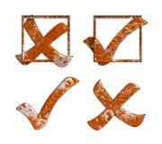 Rdzewiejący Tak Żadny Kleszczowy krzyż z pudełkiem Zdjęcia Stock