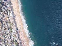 reñaca海滩鸟瞰图  图库摄影