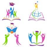 Reçoit un diplôme le logo illustration de vecteur