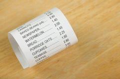 Reçu d'achats de nourriture Images libres de droits