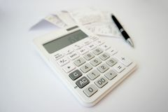 Reçus calculateurs Photographie stock libre de droits
