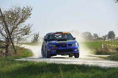 Reúna el coche en la raza, wrc del impreza del subaru Imagen de archivo libre de regalías