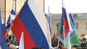 Reúnase para marcar el segundo aniversario de la anexión de Crimea a Rusia almacen de metraje de vídeo