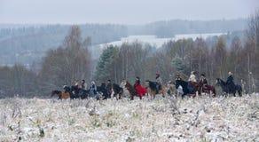 Re-введение в силу традиционного звероловства с русскими wolfhounds Стоковое Фото