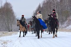 Re-введение в силу традиционного звероловства с русскими wolfhounds Стоковое фото RF