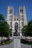 Re Baudouin Statue davanti alla cattedrale fotografie stock libere da diritti