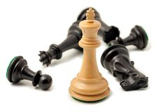 Re bianco Won di scacchi Fotografia Stock Libera da Diritti
