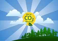 We're Carbon (CO2) Neutral (landscape). Go green and advertise your company's carbon policy with a carbon neutral poster Stock Image