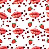 Re coloré de baiser d'amour de Valentine d'amant sans couture de modèle de lèvres de baiser illustration libre de droits