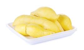 Re dei frutti, durian su fondo bianco Fotografie Stock