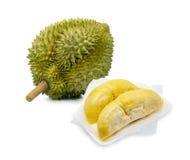 Re dei frutti, durian su fondo bianco fotografia stock