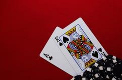 Re dell'asso con i chip Fotografia Stock Libera da Diritti