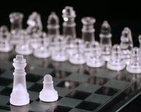 Re di vetro di scacchi più il pegno fotografia stock