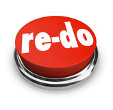 Re-Do Red Button Redo Change Revision Improvement. A red button with word Re-Do to illustrate a need to revise, change or improve to adapt to changing conditions Stock Images