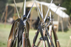 Re-Enactment 32 da guerra civil do HB - injetores empilhados Fotos de Stock