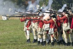 Re-enactment of Attack on Redoubts. 9 & 10 where the major infantry action of the siege of Yorktown took place.  General Washington's armies captured two Stock Photo