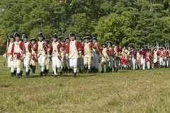 Re-enactment of Attack on Redoubts 9 & 10,. British on the march in re-enactment of Attack on Redoubts 9 & 10, where the major infantry action of the siege Stock Photos