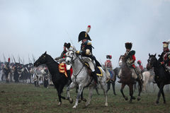 Re-enactment of the Battle of Austerlitz (1805), Czech Republic. stock photo