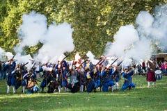 Re-enactment of battle for Pressburg at Bratislava, Slovakia on September 30, 2017 Royalty Free Stock Photo