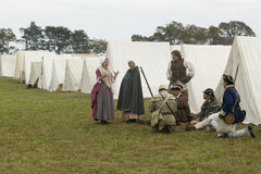 Re-enactment of Revolutionary War Encampment. Demonstrates camp life of Continental Army as part of the 225th Anniversary of the Siege of Yorktown, Virginia Royalty Free Stock Photos
